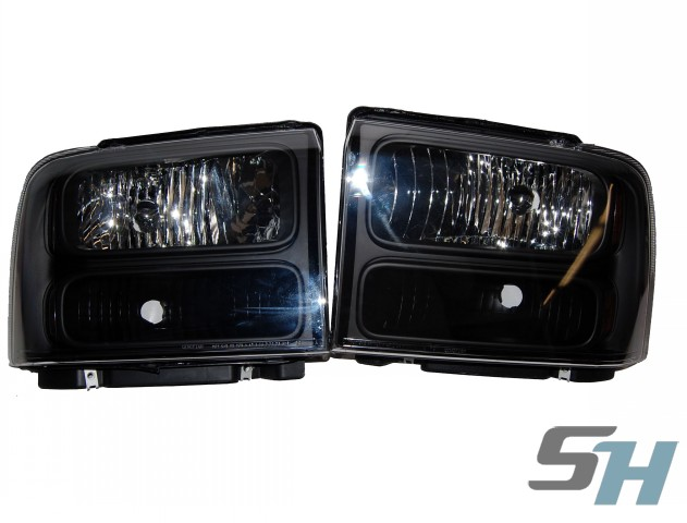 2007 Superduty Black Smoked Painted Headlights