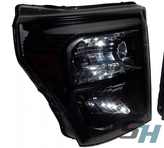 2013 Ford Superduty Black & Chrome Headlights Smoked