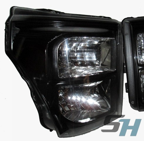 2015 Ford Superduty Black & Chrome HID Headlights Custom Painted