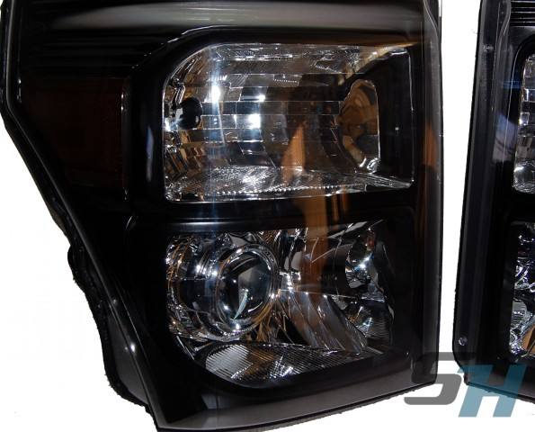 2014 Ford F250 Superduty Black Chrome HID Projector Headlights