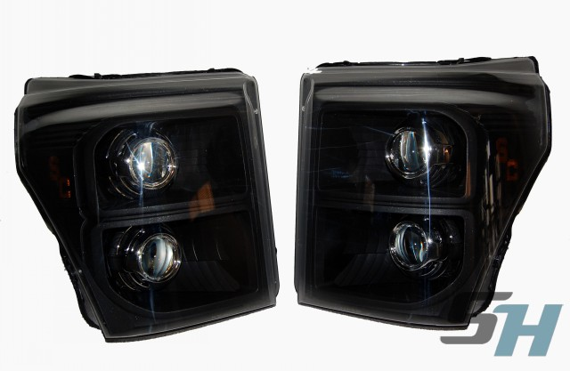 2014 Superduty Quad HID Projector Headlamp - Black Chrome