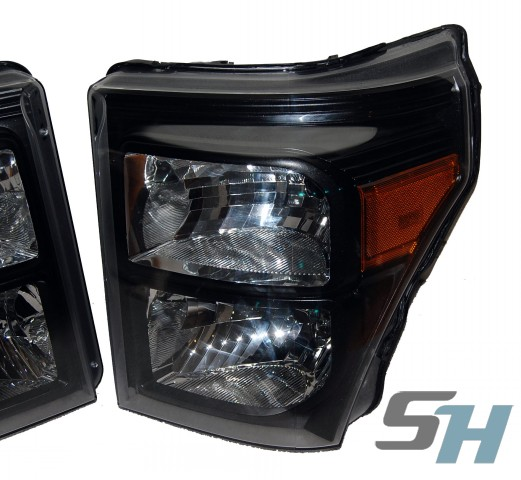 2015 Ford Superduty Black Chrome Amber Painted Headlamps Package