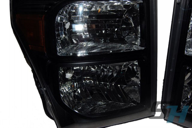 2015 Ford Superduty Black Chrome SmokedPainted Headlamps Package