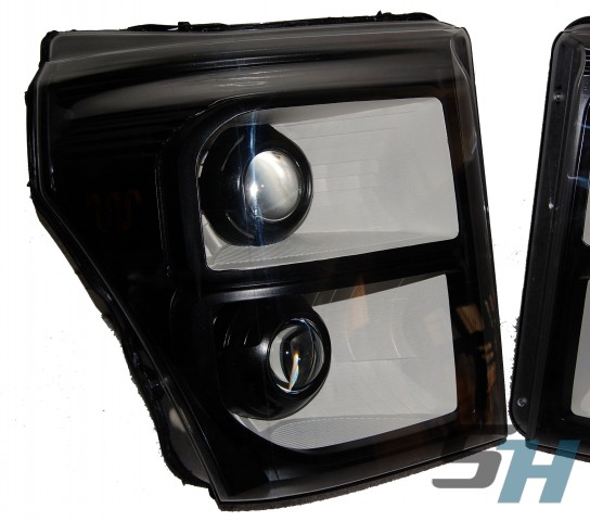 2015 Ford F350 Superduty Black White Quad HID Headlights