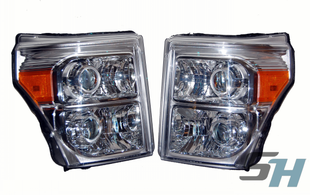 2014 Ford Superduty Quad Chrome HID Projector Headlight Retrofit Package